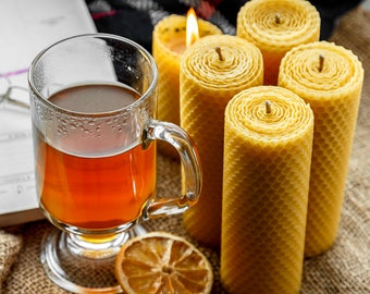 """Candle Set of 4, 100% Pure and Natural Beeswax Hand rolled Pillar Candle (13/4.5 cm- 5.11""""/1.6"""")"""