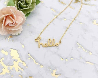Gold Hello Dainty Necklace