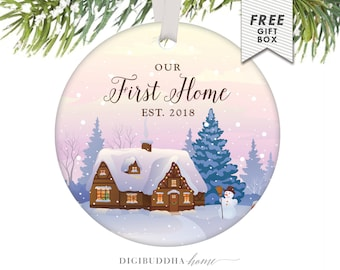 Our First Home Ornament Personalized First Home Ornament Our First Christmas Ornament Christmas Ornaments Personalized Family Ornaments Gift