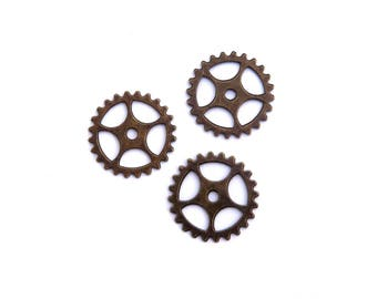 LOT 3 gear steampunk 25mm bronze