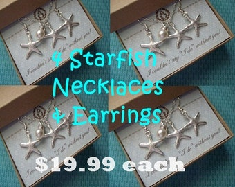 4 STARFISH NECKLACE & EARRINGS set,  Set of 4 Starfish Necklaces, Starfish Necklace, Starfish Jewelry, Bridal Party, Bridesmaid Gift Idea