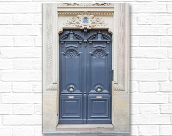Paris Photography on Canvas -  Paris Blue-grey Door No. 8,  Gallery Wrapped Canvas, Large Wall Art, Architectural Home Decor