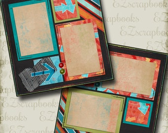 EXPRESS - 2 Premade Scrapbook Pages - EZ Layout 264