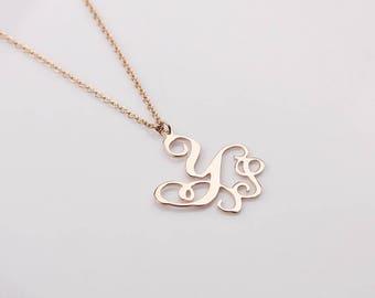 Personalized Monogram Necklace - Initial Name Monogram Jewelry - Custom Monogram Charm - Initial Necklace in Rose gold, Silver, Gold