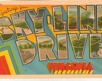 Linen Postcard, Greetings from Skyline Drive, Virginia, ca 1940