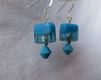 Blue glass square bead dangle with blue opaque crystal drop