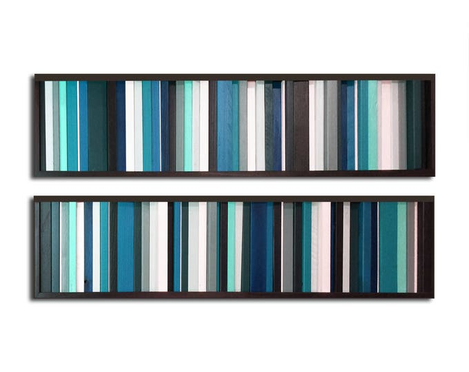 "Reclaimed Wood Art - Two 7x30"" - ""Got the Blues"" Wood Art Pieces in Teals, Grays, Whites - Modern Wood Wall Art - Wood Paintings, Minimalist"