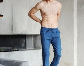 Mens linen pants. Pants for men.Linen trousers. Gift for him. Organic pants. Blue pants. Flax Trousers. Summer linen pants. Beach pants