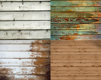 COMBO / FOUR PACK / 2ft x 2ft Vinyl Photography Backdrops for Product Photos, Vintage Wood Floordrops  Fl1