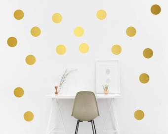 Metallic Gold Polka dots, Polka Dots Wall Decals, Circle wall decor, Polka Dot Wall Sticker Decor, ALL SIZES Polka Dot Wall Decal,dots decor