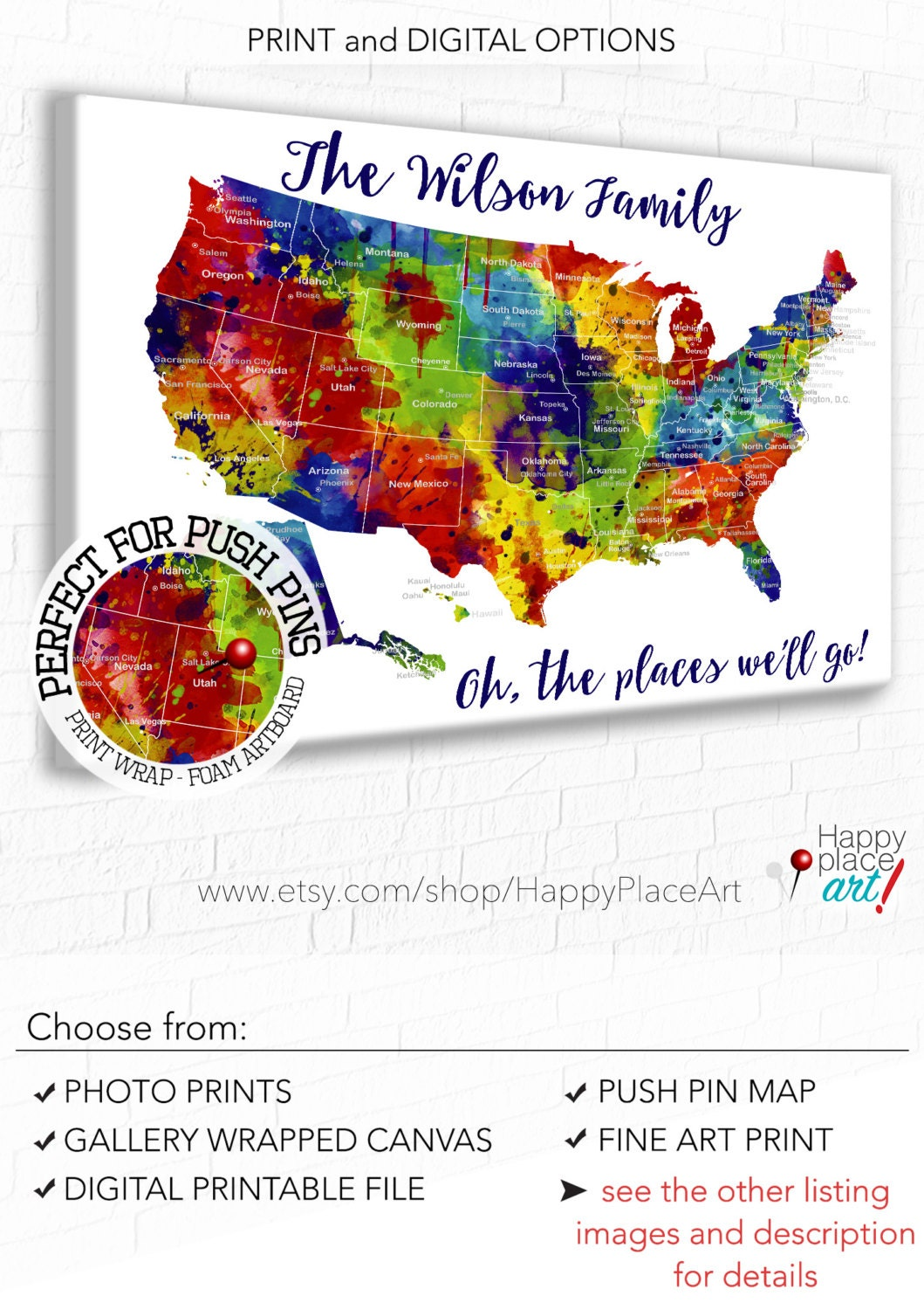 Large And Bright Family Travel Map USA Map With States And - Us State Map With Cities Zoom