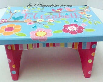 Hand painted personalized step stool,girls step stool,children's bench,baby,kids furniture,kid's step stool,turquoise,pink,flowers and birds