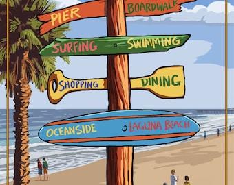 San Clemente, California - Destinations Sign - Lantern Press Artwork (Art Print - Multiple Sizes Available)
