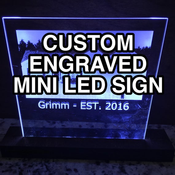 Custom Laser Engraved Mini LED Sign