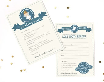 Tooth Fairy Letter and Report Kit - Official Tooth Fairy Kit - Tooth Fairy Printable - Instant Download and Edit with Adobe Reader