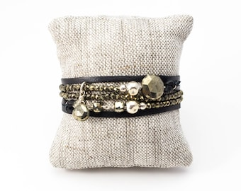 Pyrite Necklace, Pyrite Wrap Bracelet, Silver Wrap Bracelet, Adjustable Necklace, Gold Bracelet, Leather Bracelet, Pyrite Bracelet