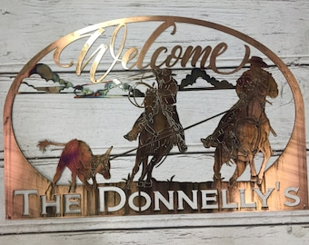 Custom Name Sign with Calf Roping Team