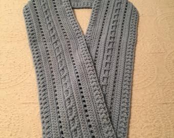 Scarf Light Gray Crocheted