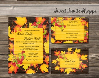 Autumn Fall Wedding Invitation Set, Rustic Autumn Leaves Printable Wedding Invitation Suite, RSVP Card, Falling Leaves  Printable Invitation