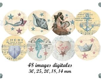 Digital collage sheet circles mermaid seashell, vintage images, sea, nautic nautical 1 inch circles and more instant download