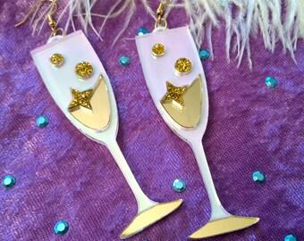 Champagne Flute Celebration Earrings, Laser Cut Acrylic, Plastic Jewelry