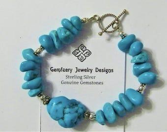 Sterling Silver Natural Tumbled Nevada Turquoise Gemstone Bracelet...Handmade USA