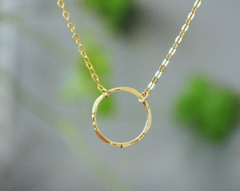 Gold karma necklace. 14k Gold Filled. Gift for mom. Karma Circle Necklace. Gold Circle Necklace. Eternity Necklace. Karma Necklace