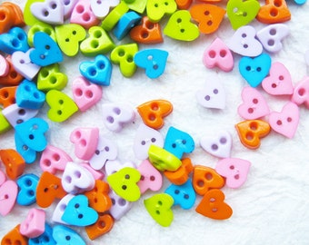 Tiny 2 hole heart  button - 5 and 6 mm.  100 pcs assorted colors for making Barbie, Blythe and dolls clothes SET3