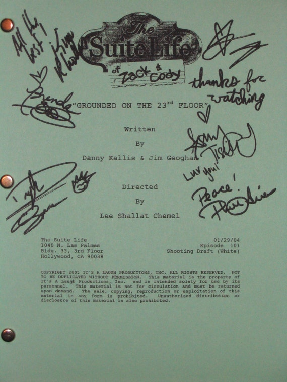 the suite life of zack amp and cody signed tv script screenplay