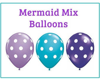 "Mermaid polka dot Print 11"" Balloons birthday party decorations purple teal lavender"