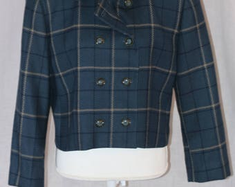 Vintage RENA ROWAN for SAVILLE Wool Blue Plaid Peacoat Blazer Jacket Size 16