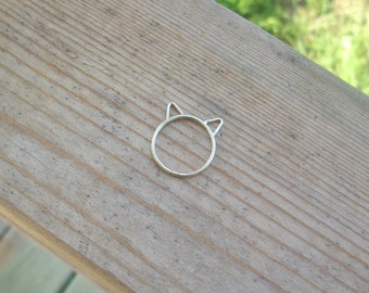 Kitty Ring. Cat Ring. Silver Cat  Ring. Sterling Silver Kitty Ring. Sterling Silver Kitty Ears Ring.