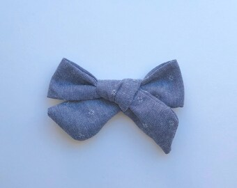 Schoolgirl Bow, Chambray, nylon band, alligator clip, infant, baby, toddler, girl