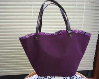 Purple linen basket form carrier bag.