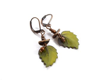 Handmade Green Leaf Enameled Earrings, Enameled Earrings, Boho Earrings, Green Earrings, Brass Earrings,Artisan Earrings,Leaf Earrings,AE188