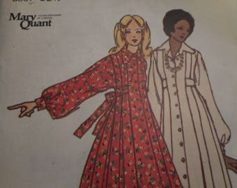 Vintage 1970's Butterick 6916 Mary Quant Dress Sewing Pattern Size 10 or Size 12