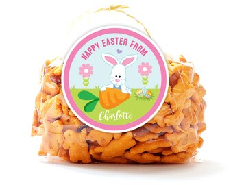 Personalized Stickers Happy Easter Bunny, Easter Circle Stickers, Easter Party Favor, Happy Easter Circle Stickers