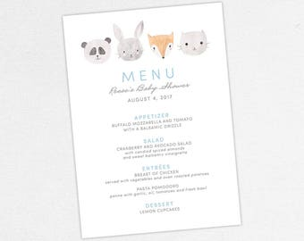 Woodlands Baby Shower Menu, Neutral Baby Shower, Boy Baby Shower, Printable Menu, Menu PDF, Animals, Fox, Panda, Bunny, Gray, diy, Woodlands