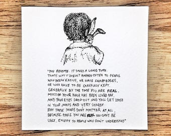 The Velveteen Rabbit 'Real' Drawing ~ Dotwork Illustration ~ Children's Book A6