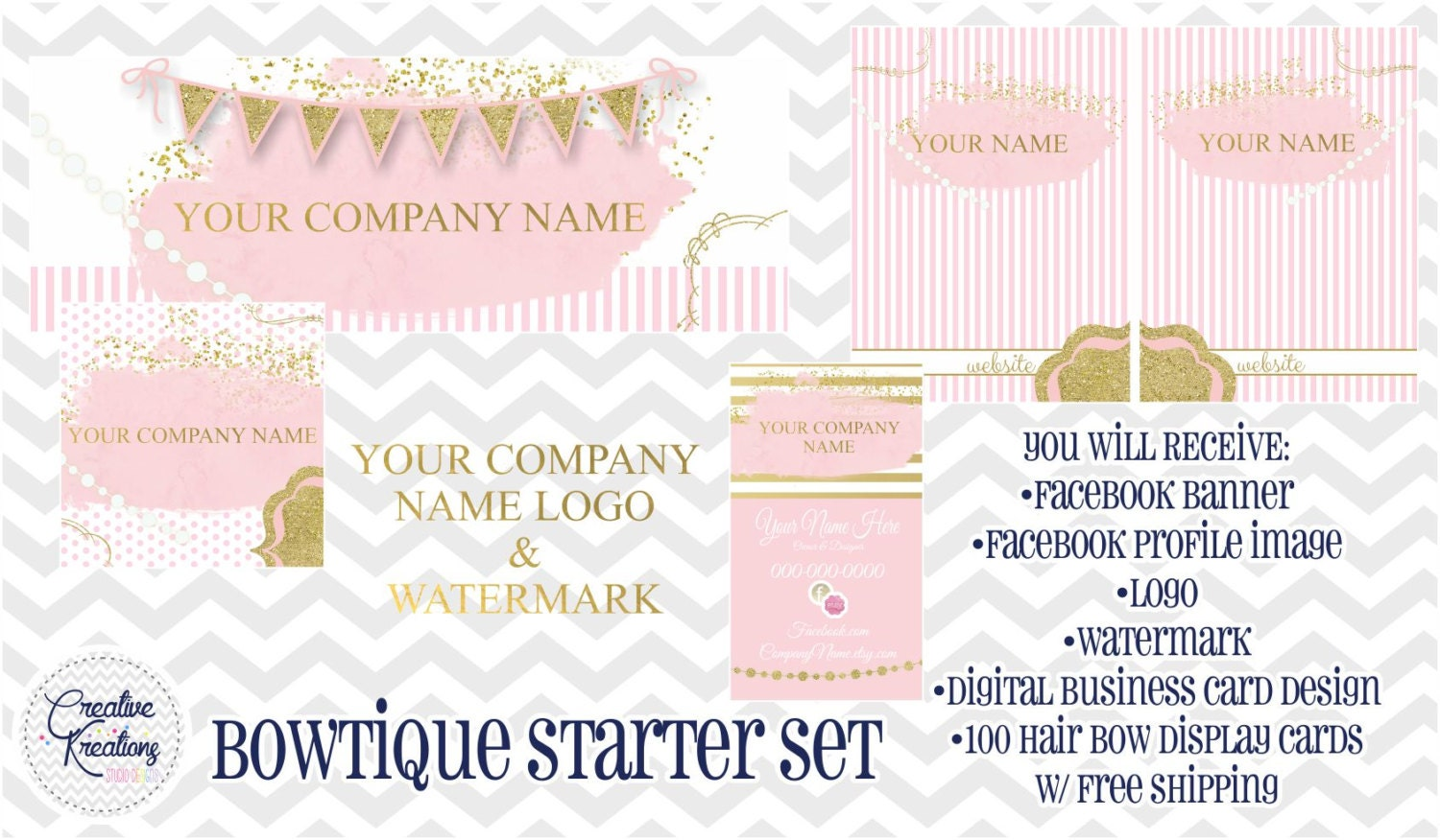 Full Pink & Gold Boutique Bowtique Business Page Facebok Set ...