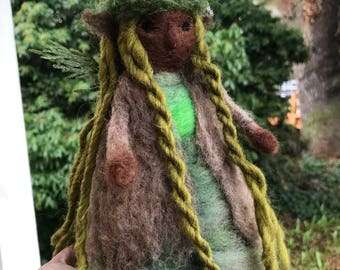 Needle felted faerie elven forest woodland doll