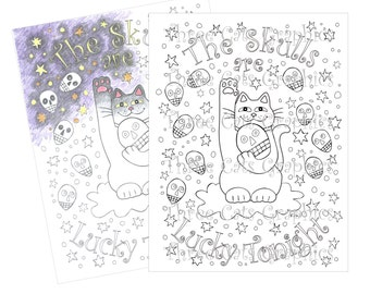 The Skulls are Lucky Tonight Coloring Sheet Digital Download - PDF & JPG formats