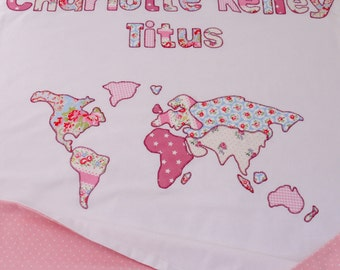 Handmade patchwork quilt single bed size cath kidston fabric personalized map of the world baby blanket displaying babys name and map 100 cotton blanket made using cath kidston fabric in the uk gumiabroncs Gallery