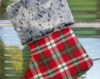 Beautiful Handmade Christmas Stocking with Fux Fur Trim