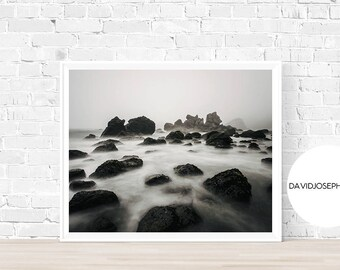 Beach Print, Coastal Photography, Sea Wall Art, Ocean Printable, Fog Print, Digital Download, Modern Print, Beach Wall Art, Coast Print