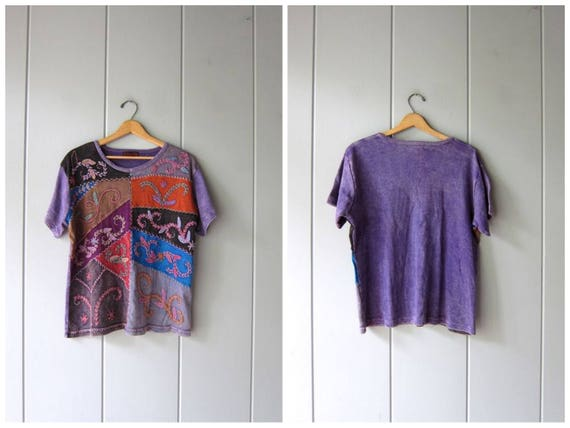 Hippie Shirt Oversized 90s TShirt Purple Pigment Dyed Stitch Work Embroidered Shirt Basic 90s Cotton TShirt Vintage Womens Large