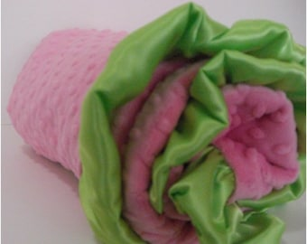 Hot Pink Dot with Kiwi Lime Green Dot Minky Baby Blanket with size options luvy, infant, crib