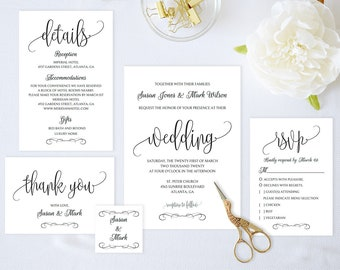 Wedding Invitation Set,Wedding Invitation Printable,Wedding Invitation Suite,Wedding Invitation Template,Instant Download Pdf,Modern Invite