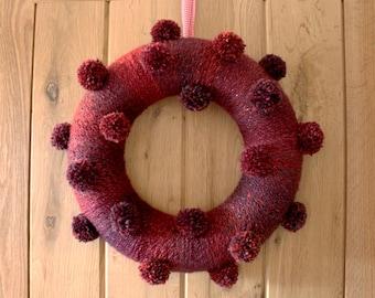 Mulled Wine - Pom Pom Wreath 35cm - Ready to ship