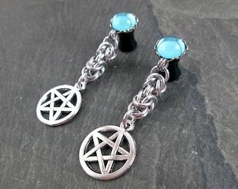 Dangle Plugs - 10g - 8g - 6g - 4g - 2g - 0g - Pentacle Plugs - Pagan Jewelry - Dangle Gauges - Plug Earrings - Wiccan Earrings